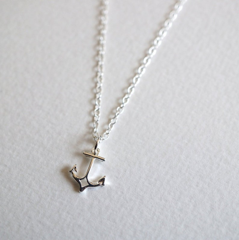 Anchor Sterling Silver Charm Necklace  Gifts for her  Nautical jewelry  Everyday necklace