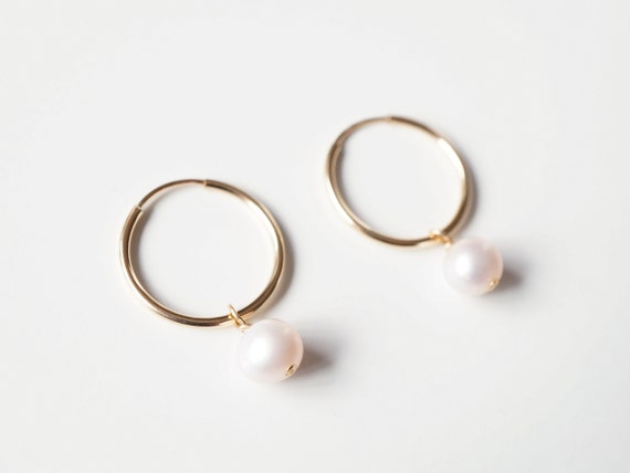 Pearl Gold Hoop Earrings (Lessi) // Gifts For Her // Handmade Earrings // Minimalist Jewelry by Etsy