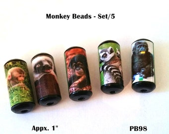 Cute Monkey Beads -  Handmade Paper Tube Beads - Set/5  -  PB98