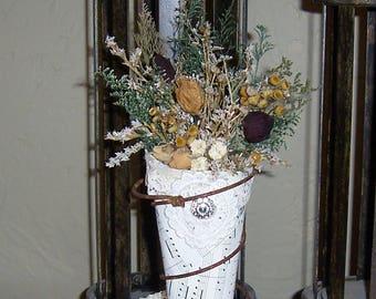 Dried flower art, flower cone, primitive decor, country decor, farmhouse decor, vintage style
