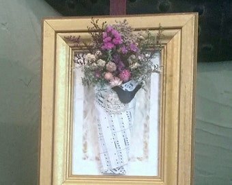 Floral arrangement,  dried flowers, country home, farmhouse decor, framed with a wooden gold leaf frame