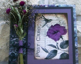 dried flower art, country decor, cottage decor, wall decor, art collage