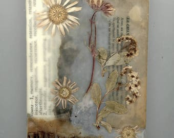 Dried flower art, country decor, farmhouse decor,  beeswax collage,  mixed media art, paper, pressed flowers, home decor, affordable art