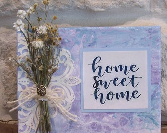 """dried flower art, country decor, cottage decor, """"home sweet home"""""""