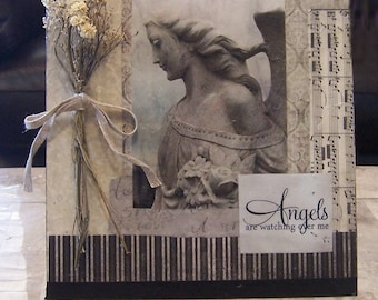 """canvas art """"Angels are Watching"""" mixed media collage, country decor, wall art, paper and paint art, dried flower collage"""