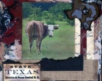 Handmade Western decor, Western art, Texas art, country decor, cowboy art, collage