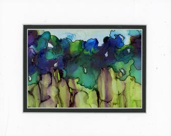Floral painting, alcohol ink art, vibrant gorgeous color, flower garden