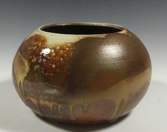 Brown Vase - Round Vase - Handmade Vase - Rustic Vase - Wood Fired - Handmade Pottery
