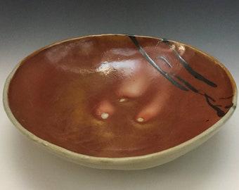 Brown Bowl - Serving Bowl -  Fruit Bowl - Center Piece - Wedding Gift - Wood Fired - Handmade Pottery