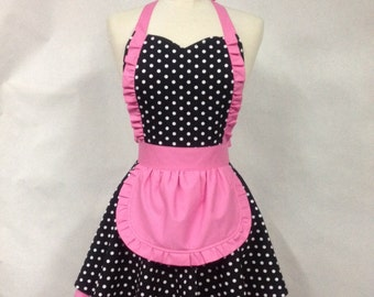 French Maid Apron Polka Dot with Hot Pink