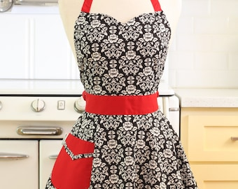 The BELLA Vintage Inspired Black and White Floral Damask with Red Full Apron
