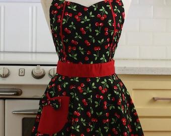 The MAGGIE Vintage Inspired - Cherries on Black - Full Apron