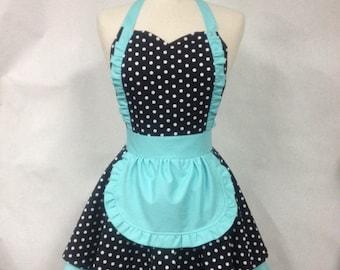 French Maid Apron Polka Dot with Aqua - Retro Full Apron