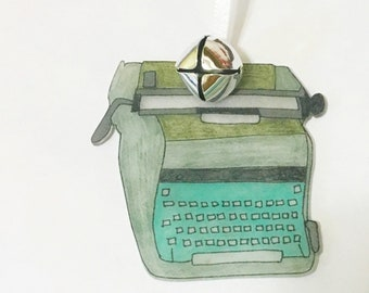 teal green typewriter vintage style ornament holiday gift for author christmas tree hanging aspiring writer english teacher gift for them