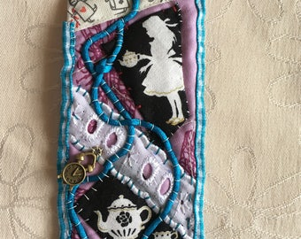 Time for Tea Crazy-Quilted Bookmark