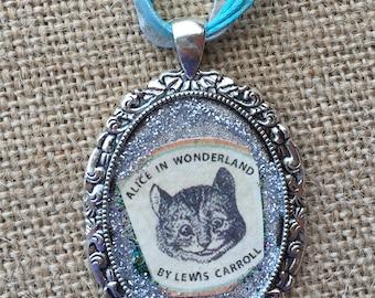 Glitter Cheshire Cat Pendant