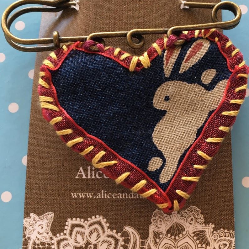 White Rabbit Textile Pin image 0