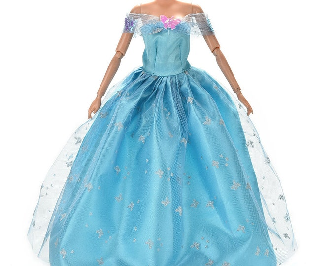 BARBIE Light BLUE Gown and SHOES