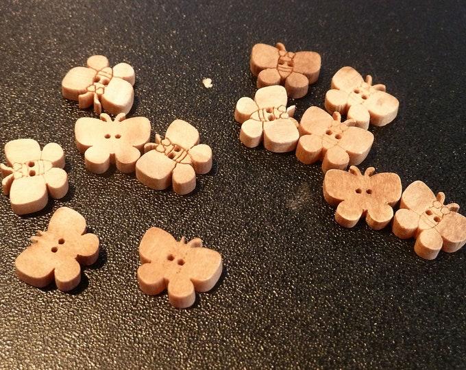 Buttons Tiny Wood Butterflies  set of 12  /M14