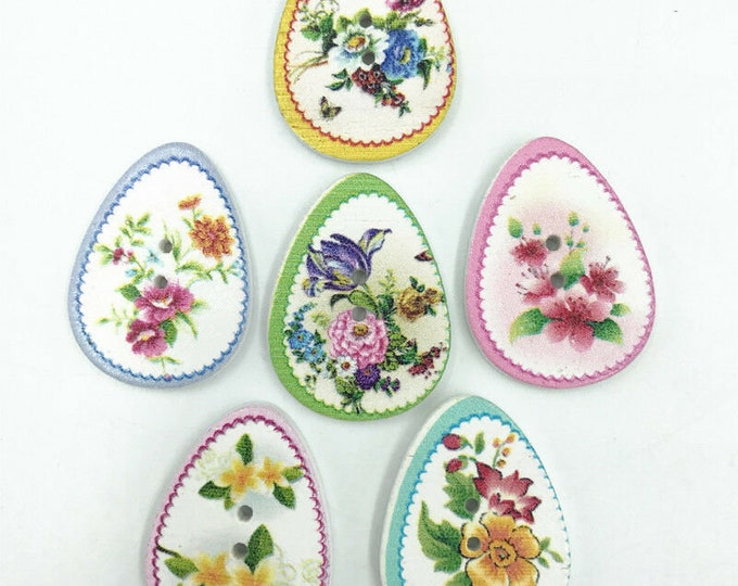 Flower Painted Egg Shaped Buttons  set of 10  /  105
