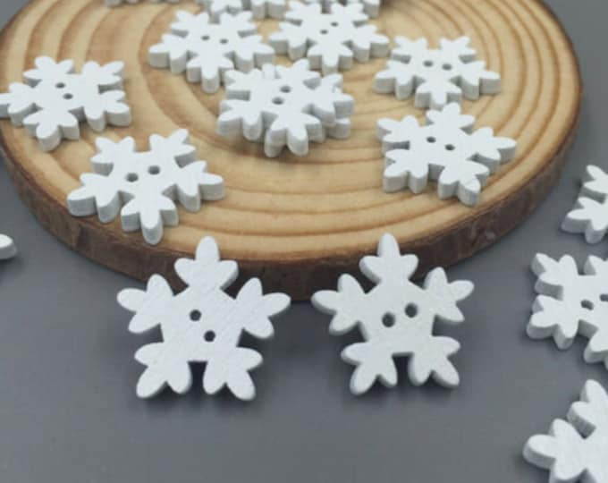 White Snowflake Buttons  set of 10  /  88