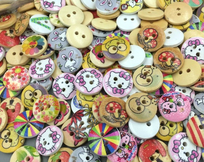 Buttons Painted With Flowers Little Animals Pictures  set of 10  / 109