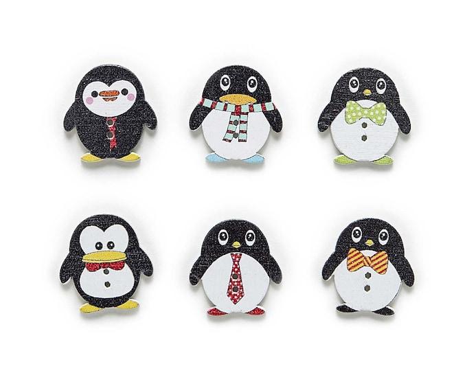 Penguin Buttons Cute Set of 10   /  18