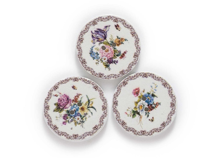 Buttons Round Floral  Set of 10  / 112