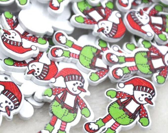 Snowman Christmas Buttons set of 10 / Q