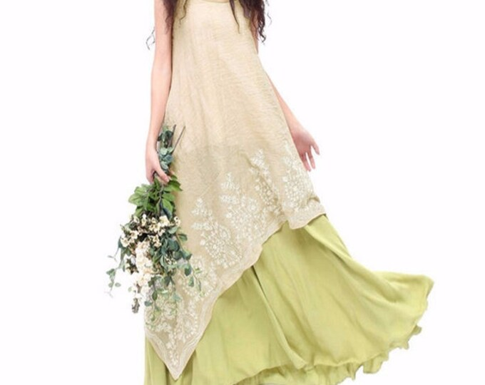 Women's Dress Mini Sleeve Vintage Linen Two Hem Embroidery Floral Maxi Dress
