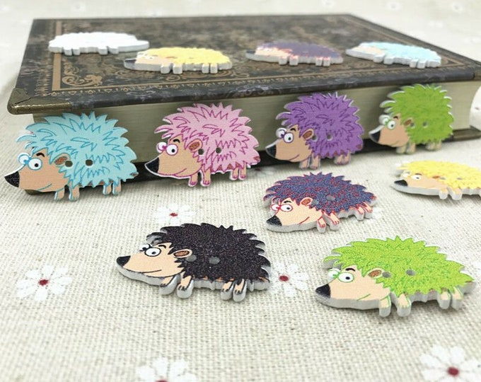 Wooden Hedgehog Buttons   set of 10  /  106