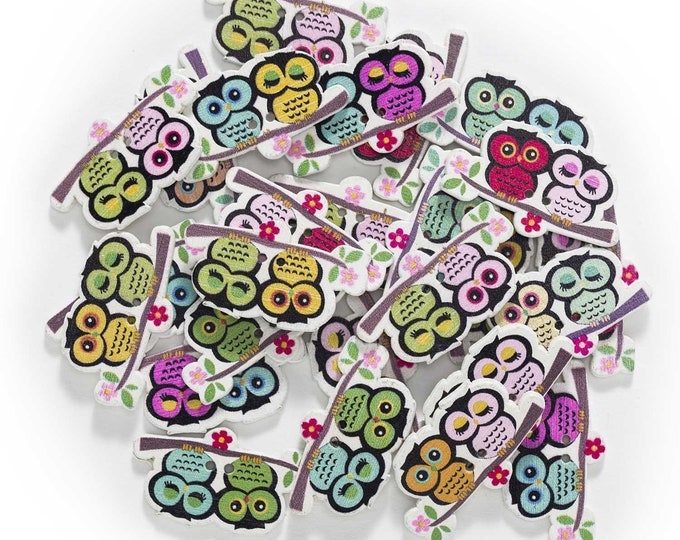 Owls on Branch Buttons  set of 10  / 224