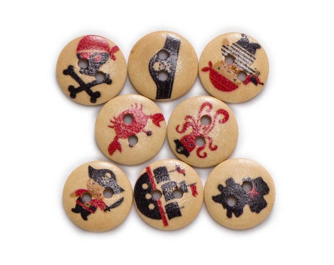 Buttons with Pirate items painted on them  set of 10 / LL