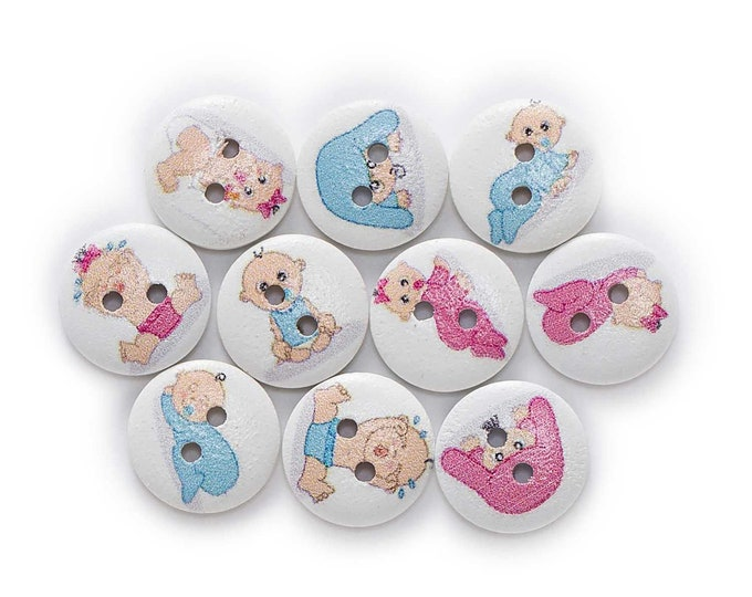 Baby's and Baby's Items Round Buttons  set of 10  /  1