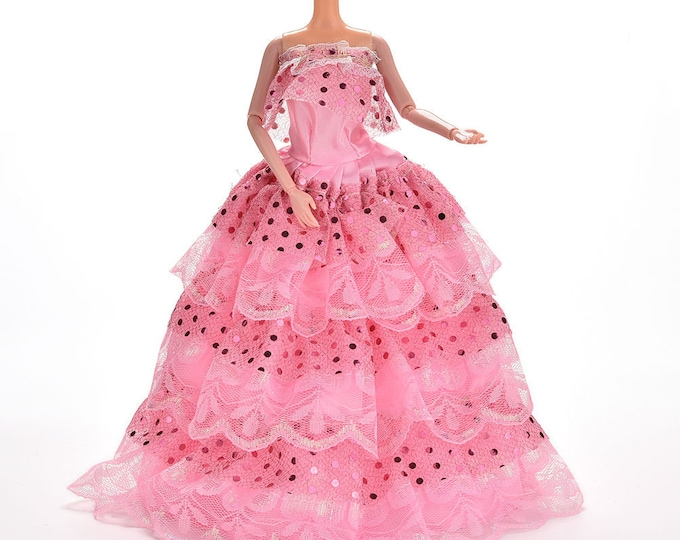 BARBIE Pink SEQUINED GOWN And Shoes