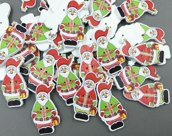Santa Dye Cute Buttons  set of 10  /  K