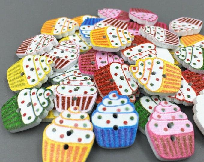 Cupcake   set  Buttons   set of 10  /  107