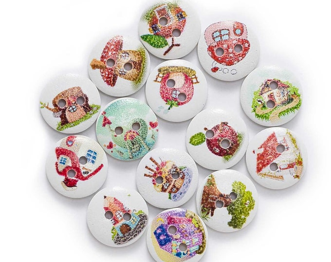 Cottages and Treehouses Buttons  set of 10  /  VV