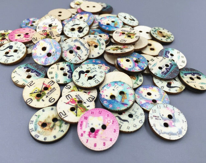 Clock Buttons Old-fashioned   set of 10   /  104