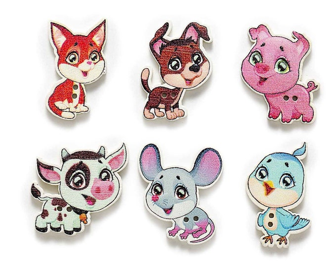 Mixed Dye Cut Animals Buttons set of 10 / KK