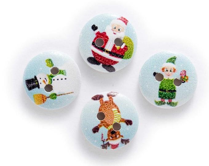 Santa Elf Reindeer Buttons set of 10 / YY