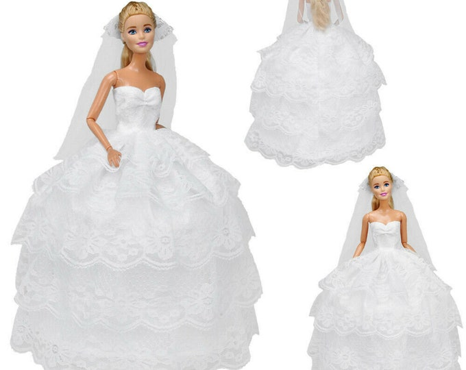 Barbie Wedding Dress, Veil and Shoes