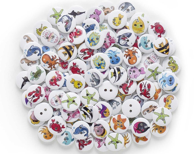 10pcs Fish Pattern Wood  Buttons 15mm      AA
