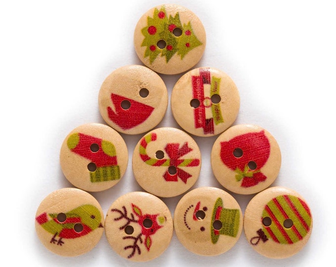 Buttons Christmas Presents Santa Snowmen Socks Socks set of 10 / M