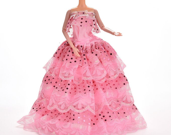 Barbie Off Of the Shoulder Pink Gown with Matching Shoes
