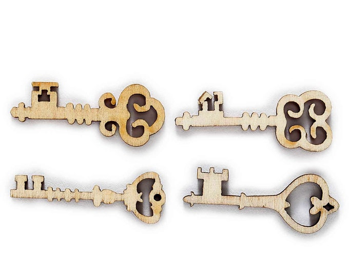 Fancy Wood Skelton Keys Buttons  set of 10  / 2