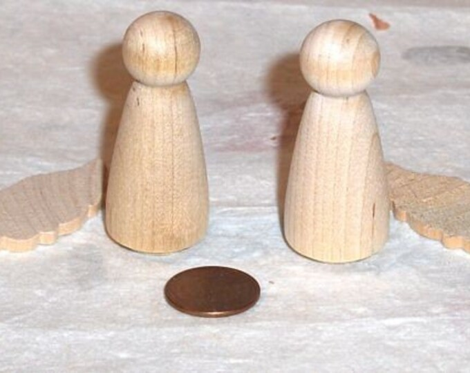 Miniature  Wood Angels -  2 Full Angels