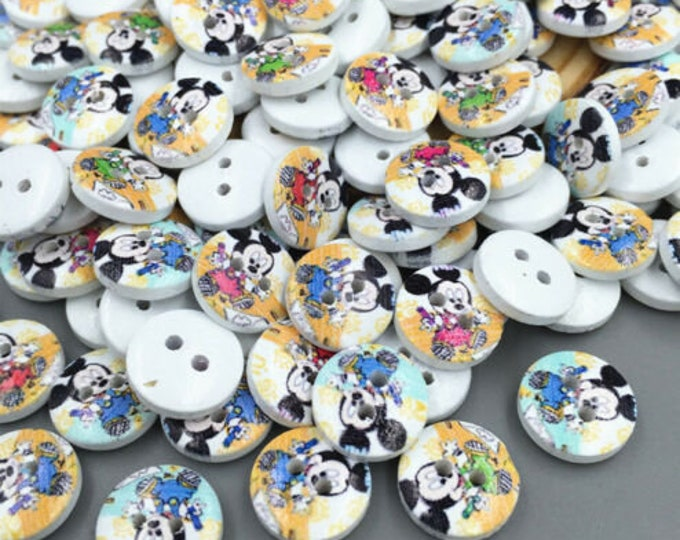 Mickey Mouse Round Button set of 10  / 55