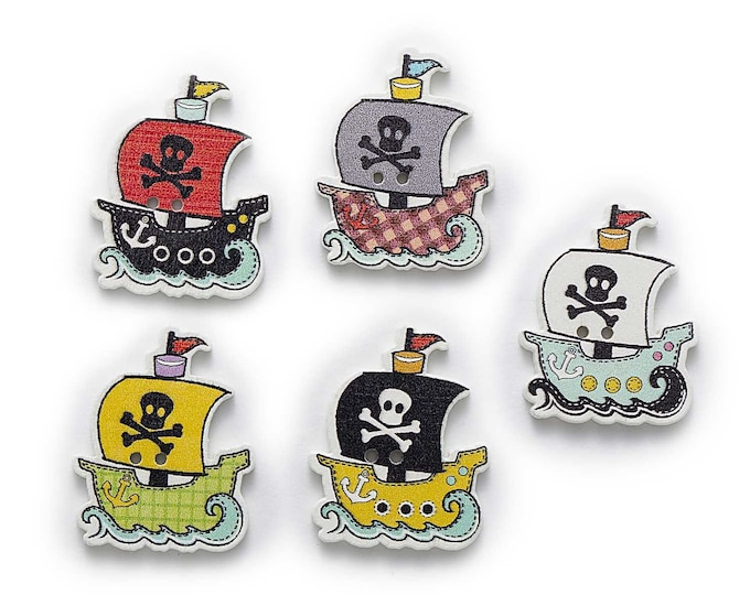 Pirate Sailing Ships Buttons set of 10  / 15