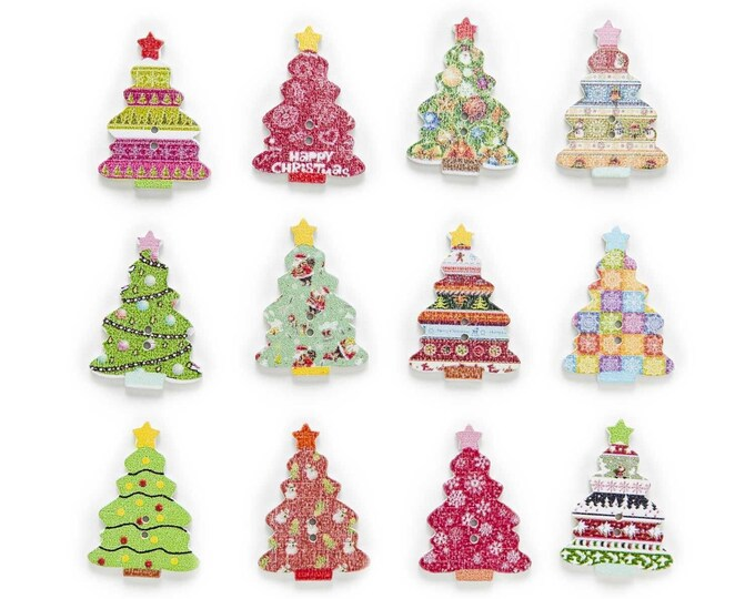 Christmas Tree Wood Button  set 10    C